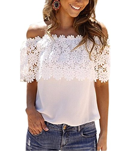 Zeagoo Women's Off Shoulder Blouse Lace Splicing Sexy Tops Chiffon Patchwork Shirt,US 12(Asian XL) (Sexy Peasant Tops)
