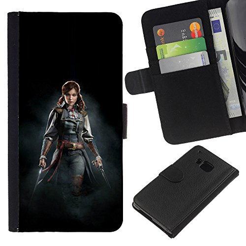 OREGON-X Terrific Front Picture Leather Card Slots Pouch Wallet Protection Hard Case Black Cover For HTC One M9 - FEMALE PIRATE (Female Pirates Pictures)