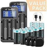 Taken CR123A Lithium Batteries Rechargeable, 12 Pcs 3.7V 750mAh Li-ion Rrechargeable Batteries for Arlo Camera with 2 Pcs Arlo Battery Fast Charger, 3 Pcs Arlo Skins Black