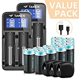 Taken one Taken CR123A Lithium Batteries Rechargeable, 12 Pcs 3.7V 750mAh Li-ion Rrechargeable Batteries for Arlo Camera with 2 Pcs Arlo Battery Fast Charger, 3 Pcs Arlo Skins Black