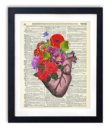 Pink Heart With Flowers Upcycled Vintage Dictionary Art Print 8x10 (Heart Art)