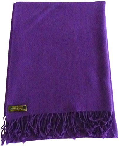 Purple High Grade 100% Cashmere Shawl Scarf Wrap Hand Made from Nepal NEW