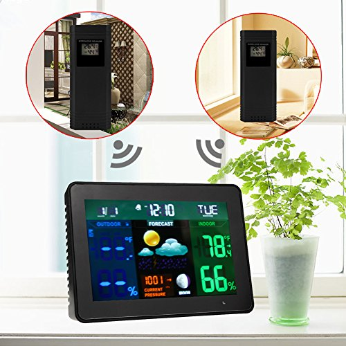 Clock + LCD Digital Hygrometer Humidity Thermometer Temperature Meter In/Outdoor - 8