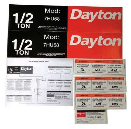 Jib Crane Label Kit, For Use With 7HU58 by Dayton