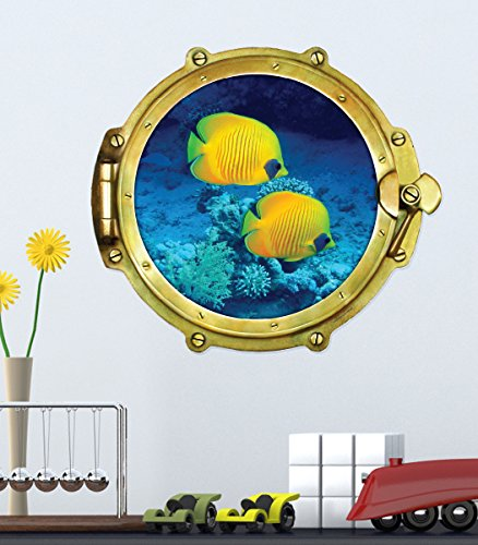 Walls 360 Peel & Stick Porthole Wall Decal Yellow Coral Fish Under The Sea (12 in x 10.5 in)