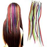 FACILLA® Set Extension Plume Cheveux Fibre 18 Couleurs + Anneaux Microring
