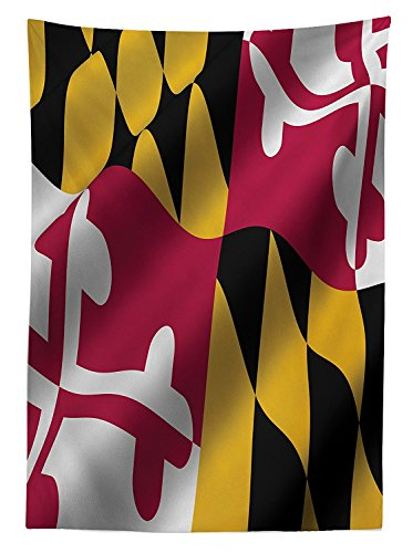 cloth Flag of the US State of Maryland Closeup Picture Waving America National Dining Room Kitchen Rectangular Table Cover ()