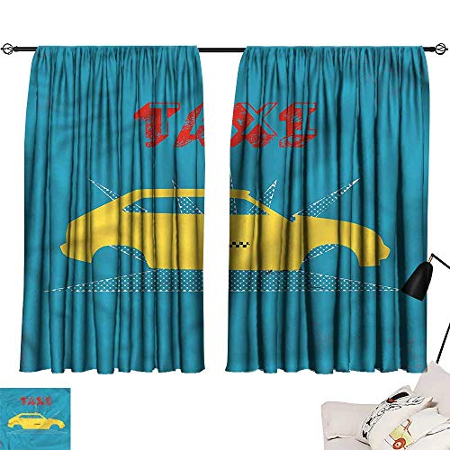 Denruny Waterproof Window Curtain Retro,Old Cab Grunge Typography 72