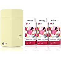 [Printer+Paper SET] New LG Pocket Photo Printer 3 PD251 [Yellow] (Follow-up model of PD241T PD239) + LG Zink Sticker Photo Paper [90 Sheets]