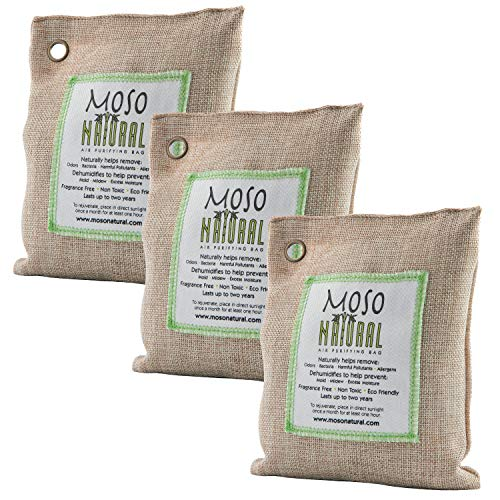 3 Pack Moso Natural 200 gm Air Purifying Bag Deodorizer. Odor Eliminator for Cars, Closets, Bathrooms and Pet Areas. Absorbs and Eliminates Odors. Natural Color