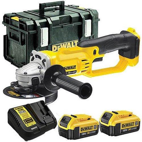DeWalt DCG412N 18V Li-ion 125mm Angle Grinder with 2 x 4.0Ah DCB182 Batteries DCB115 Charger /& DS300 Kit Box