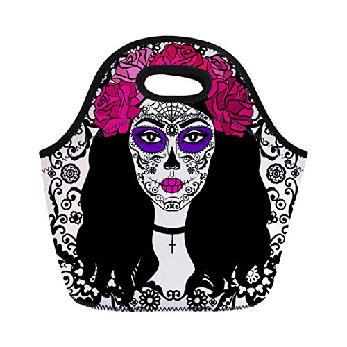 Semtomn Lunch Bags Black Tattoo Girl Sugar Skull Makeup Calavera Catrina Mexican Neoprene Lunch Bag Lunchbox Tote Bag Portable Picnic Bag Cooler Bag ()