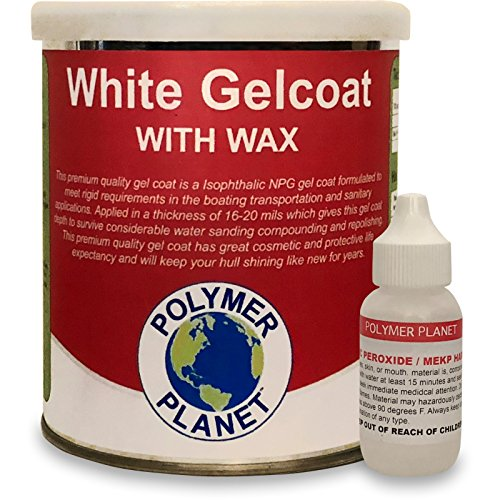 Waxed White Gelcoat Top Coat Base (Fiberglass Marine Boat Gel Repair) Quart Kit by Polymer Planet