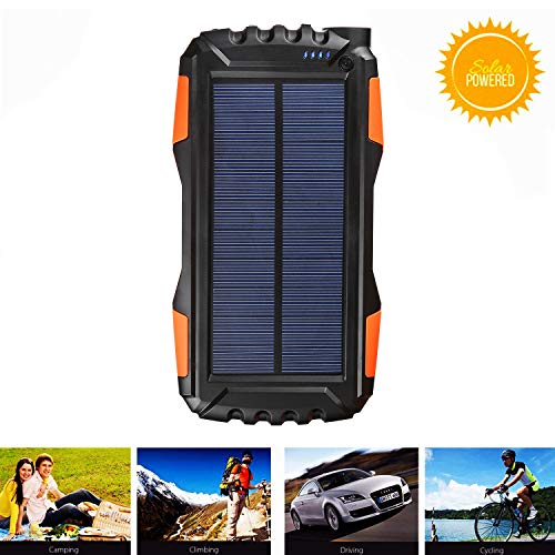 Solar Phone Charger Kiizon 25000mAh Outdoor Portable Chargers with Dual 2.1A USB Outport,Solar Power Bank External Battery Powerd Pack with Flashlight for iPhone,Samsung,Camping-Shock,Dust&Waterproof