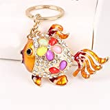 1 Pc Mini Pocket Crystal Tail Gold Fish Keychain Keyring Keyfob Party Birthday Pendant Keys Chains Rings Tags Strap Wrist Professional Popular Cute Wristlet Utility Keyrings Tool Teen Women Girls Gift