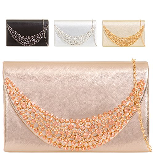 Party Diamante Women's Clutch Leather Cocktail Ladies KTL2054 Handbag Gold Purse Faux Bag pxZnq0H