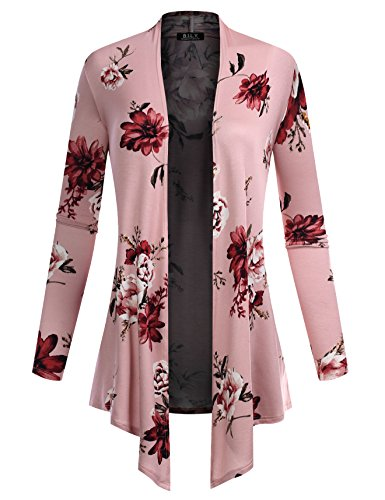 BILY Women's Open Front Drape Hem Lightweight Cardigan Floral Print 161027 Rosy (Floral Long Sleeve Cardigan)