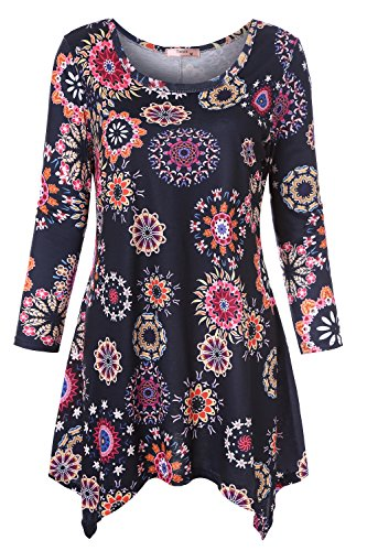 Tanst 3/4 Sleeve Tops for Women Lady Long Sleeve Tunic Shirt Casual Lightweight Round Neck Comfy Pleated Swing Vintage Ploral Printed Irregular Hem Designer Blouse Navy Blue M
