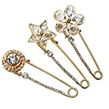 Top Plaza Mothers Day Gift Pack of 3 Women Fashion Rhinstone Crystal Accented Golden Safety Pin Jewelry Brooch Breastpin - Catch Scarf ,Lapel or Collar