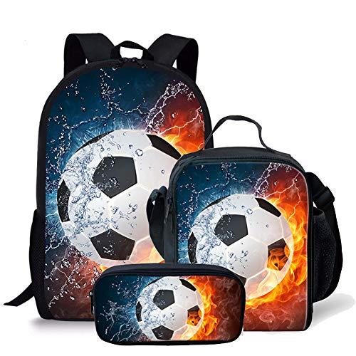 Cool Fire Soccer Print Kids Travel Backpack 3 Piece Set for Kindergarten Elementary School