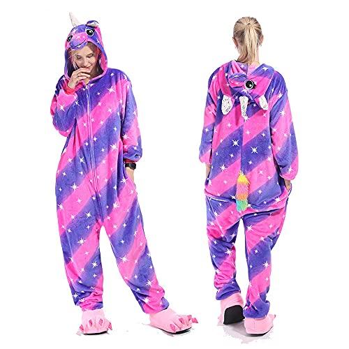 Kigurumis paarse eenhoorn Animal Onesie Cartoon Dier Winter Pyjama Vrouwen Volwassen Cartoon Jumpsuit Kostuum Fleece…