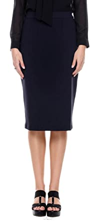 659490479 Women's Solid High Waisted Below the Knee Length Pencil Skirt for Office  Wear,Navy,
