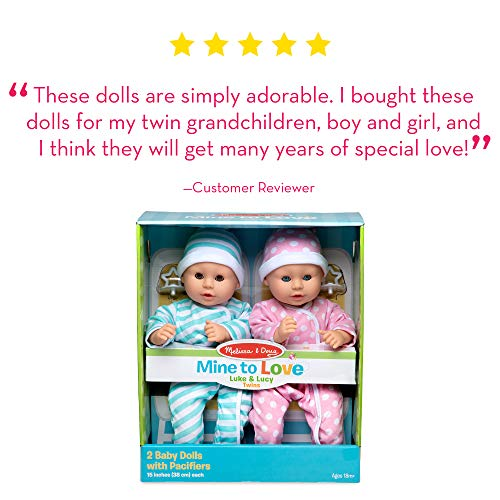 Melissa & Doug Mine to Love Twins Luke & Lucy Dolls (Pretend Play, Baby Dolls, 15 Inches)
