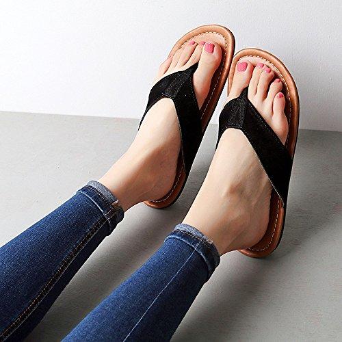 Zapatos hembra Zapatos de Zapatos para femeninos Flip de Marrón EU36 del UK3 LIXIONG la claro fresco Tamaño verano Negro moda la flops varón Sandalias femeninos CN35 Color el playa Portátil wqH6RUv