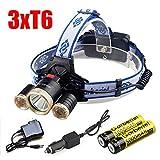40000LM 3X XM-L 3Modes T6 LED Headlamp Head light