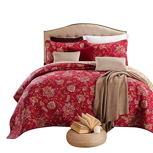 (mixinni 100% Cotton 3-Piece Floral Reversible Red Quilt Set(1 Quilt and 2 Shams) Bedspread Coverlet Set-King)