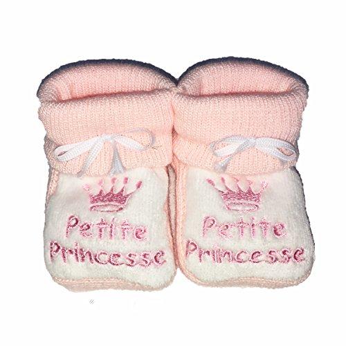 Hausschuhe baby von 0bis 3Monate rosa und weiß–Ich bin eine kleine Prinzessin