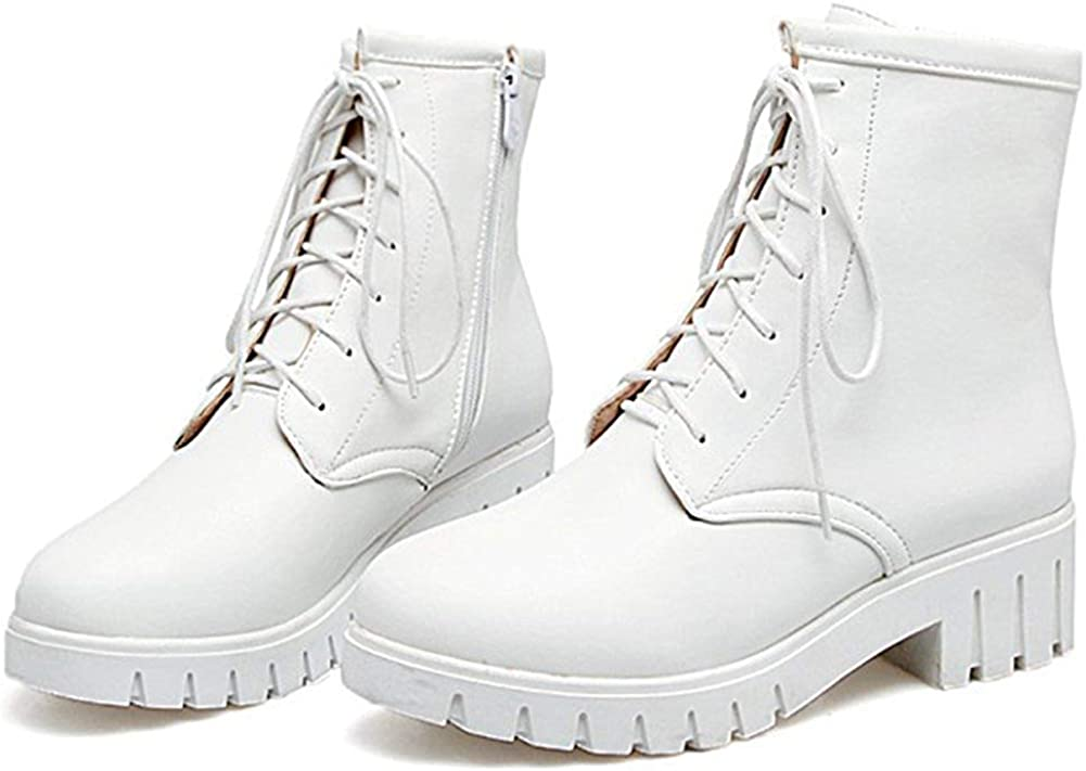 Ghapwe Womens Casual Block Low Heel Platform Short Martin Boots Round Toe Lace Up Ankle Booties White 6 M US