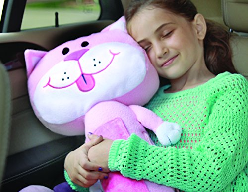Image result for Childrens Car Seat Belt Buddies Soft Toy Pet Travel Pillow - Cat