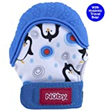 Nuby  Soothing Teething Mitten with Hygienic Travel Bag, Blue Penguins