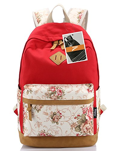 Leaper Floral College Bookbags Fashion Backpack Shoulder Bag Bookbags Red