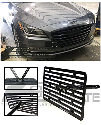 Extreme Online Store Replacement for 2015-Present Hyundai Genesis G80 Sedan | EOS Plate Version 2 Front Bumper Tow Hook License Plate Relocator Mount Bracket Tow-438-V2 (Full Size) (Best Full Size Sedan 2019)