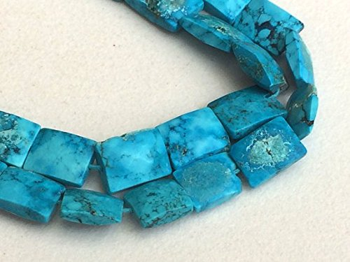 Turquoise Rectangle African Beads (JP_Beads 1 Strand Natural Turquoise Chewing Gum Cut Beads, Chinese Turquoise Rectangle Beads, Turquoise Necklace 9-12mm, 8 inch)