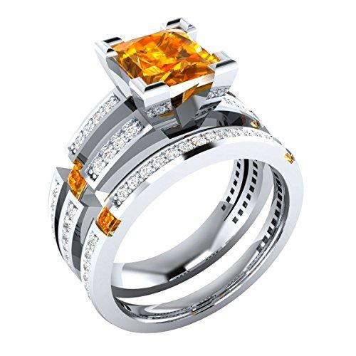 tusakha 2.60 ct Princess Cut Orange Citrine Wedding Band Engagement Bridal Ring Set 925 Sterling Silver Plated