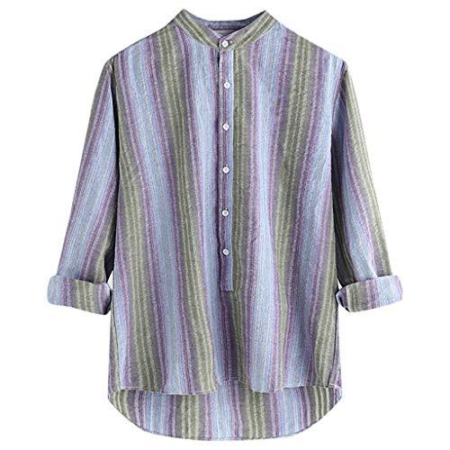 Nordstrom Woven Dress Shirt - Beautyfine Men's Cotton Woven Shirt Colorful Stripe Printed Summer Casual Long Sleeve Loose Buttons Blouse Purple