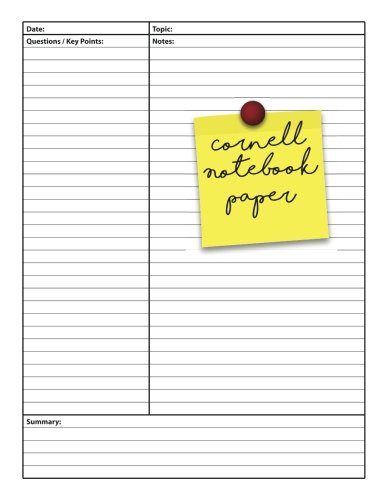 er: College Ruled Composition Notebook, 110 Cornell note paper pages, 8.5