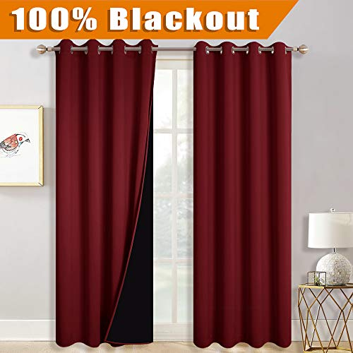 RYB HOME Living Room Curtains Total Light Block Drapes, Gift Curtains for Kids Privacy Assured, Grommet Energy Smart Drapes for Patio Block Summer Hot & Winter Chill, 52 x 84 inch, Burgundy Red, 2 Pcs