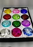 12 PCS Glass Diamond Shaped Paperweight 3.5 Inches (90 Mm) with Gift Box