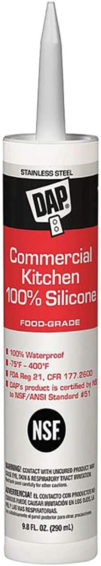 DAP 08660 Commercial Kitchen 100% Silicone Sealant, 9.8-Ounce, Stainless Steel