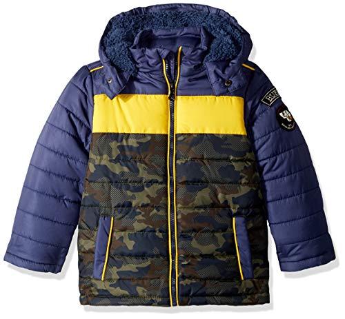 Buffalo by David Bitton Boys' Little Tri Color Puffer Jacket, Midnight seas, 8