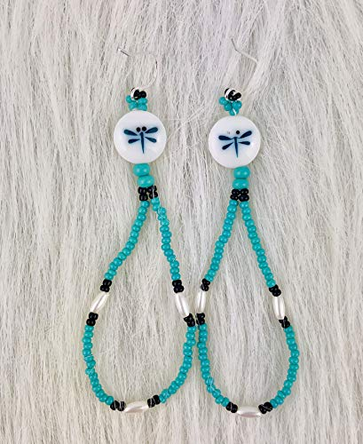 Dragonfly Native American Style Turquoise Beaded Dangle Pierced Earrings