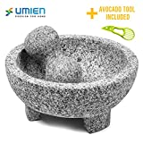 Granite Mortar and Pestle Set guacamole bowl Molcajete 8 Inch - Natural Stone Grinder for Spices, Seasonings, Pastes, Pestos and Guacamole - Extra Bonus Avocado Tool Included