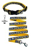 Golden State Warriors Nylon Collar and Matching Leash for Pets (NBA Official by Pets First - Size Medium) with Chrome Basketball Charm