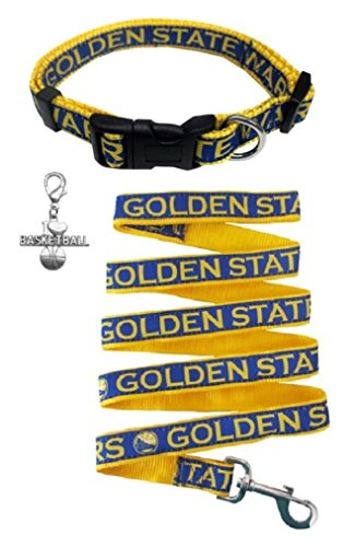 Golden State Warriors Nylon Collar and Matching Leash for Pets (NBA Official by Pets First - Size Medium) with Chrome Basketball Charm by Pets First