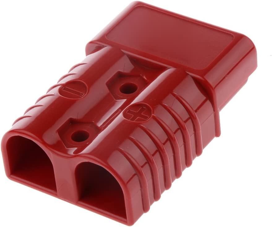 Dovewill 175A 600V Power Connect Plug Caravan Boat Two Pole Contacts Dust Cover Fits for 1 AWG Wire Red