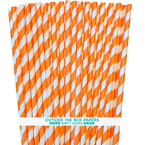 Stripe Paper Straws - Orange White - 7.75 Inches - Pack of 100 - Outside the Box Papers Brand -